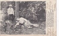 Vintage 1904 German Photographic Postcard Woman and Child in Garden