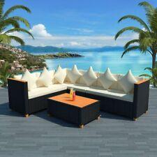 vidaXL Loungeset Poly Rattan HKC Blad Zwart 21-delig Tuinset Lounge Set Tuin