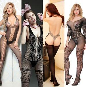 Lady Sexy Lingerie Fishnet Bodysuit Sleepwear Underwear Babydoll Dress stocking