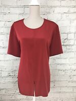 ELVI Women's Top Short Sleeve Thin Red Long Length Size UK 16 US 12