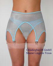 Strapse Strapsgürtel Strumpfhalter o/s SHEER BLAU glänzend unisex transparent