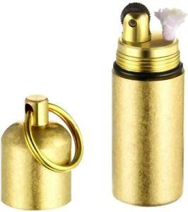 Brass Keychain EDC Peanut Waterproof Lighter for Fire Starter Survival Emergency
