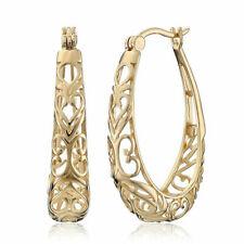 18K Yellow Gold Vintage Women Filled Hollow Hoop Dangle Earrings Wedding Jewelry