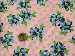 FULL Vintage feedsack: opened,  Blue Flowers on Pink and White