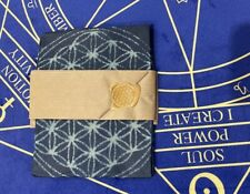Aizome beeswax wrap with Flower of life Design