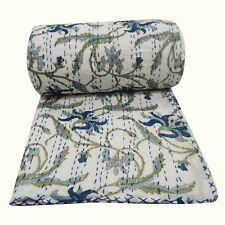 Kantha Handmade Quilt White Paradise Indian Cotton Bedspread Size Twin Gudari