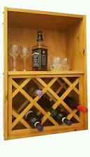 Wine Rack and Cabinet Solid Wood Pine Home Bar Storage NEW