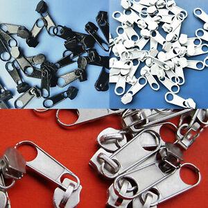 50pcs 3# Nylon Zipper Fixer Zip Slide Pull Instant Repair Replacement Solid Coil