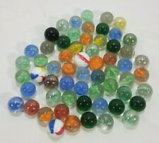 "LOT OF 60 SCRAP GLASS MARBLES 3/8"" SOLID COLORS CAT'S EYE VINTAGE STYLE L@@K"