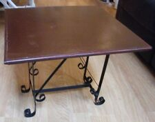 Vintage Small Wood Top Table With Wrought Iron Legs.