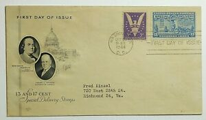 1944 13c Special Delivery First Day Combo Cover Franklin Farnam Cachet SC #E17