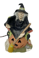 Vintage Byron Mold Hand Painted Ceramic Witch Pumpkin Cat Halloween Figure 1976