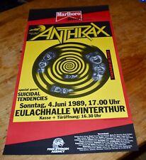 Anthrax suicidal tendencies Original Swiss Concert Poster 1989 Zurich