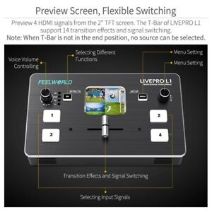"""2"""" TFT display Professional 12V 18W Video Mixer Switcher Fit For live streaming"""