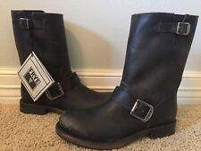 New FRYE Women's Jenna Engineer Black Brush Off Leather Boots Sz 6 $328