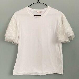 See By Chloe White Layered Ruffle Sleeve T-Shirt XS