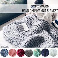 120x150cm Warm Hand Made Chunky Knit Blanket Sofa Bed Yarn Wool Bedding