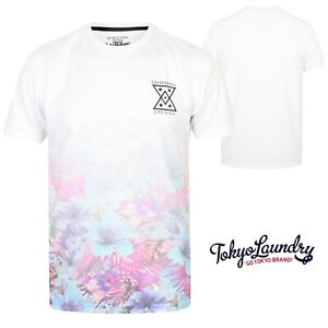 Men's Tokyo Laundry T-Shirt Crew Neck Short Sleeve Graphic Floral Print Top New