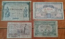 1917 + FRANCE Dijon, Marseille 4 Notes 1 Franc, 25 Cent Money Currency Banknotes