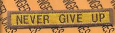 """206th Armored """"NEVER GIVE UP"""" TANK TAB patch"""
