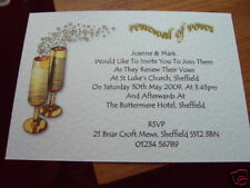 25 PERSONALISED RENEWAL OF VOWS (WEDDING) INVITATIONS GC