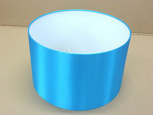 """Hand Made 10"""" Rolled Edge Turquoise Satin Lampshade"""