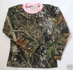 Mossy Oak Camo & Pink Girl's Shirt, Long Sleeve Kids Youth Camouflage