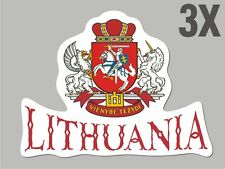 3 Lithuania shaped stickers flag crest decal car bike Sticker CN047