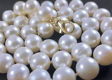 """14k Yellow Gold White Luscious Cultured 11mm Pearl Necklace Lg Clasp 21""""L 79.8 g"""