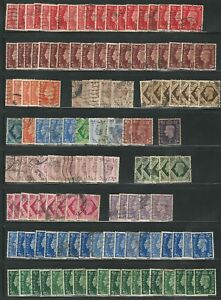 Great Britain: Lot of 130 stamps repeated used. GB045/