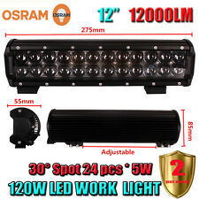 12Inch OSRAM 120W LED Spot Work Light Bar Offroad Driving 4WD Truck ATV SUV Car