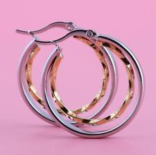TWO RING TWIST GOLD & SILVER STAINLESS STEEL 30MM EARRINGS