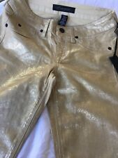 Kenneth Cole Gold Metallic Jeans Size 28 New Holiday wear