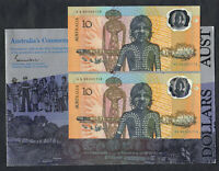 1988 Bi-Centenary - $10.  NPA 2 Note (Consec) - Staff Folder. Prefix AA 00