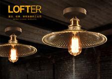 20th C. Factory Filament Ribbed Glass Flushmount E27 Light Ceiling Lamp Home Dec