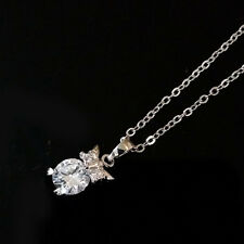 Silver Owl Charm Lady Pendant Zircon Choker Clavicle Chain Necklace