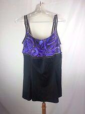 Longitude Women's Purple & Black Sz 16 Swimdress Swimsuit NEW
