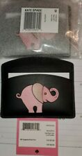 Kate Spade Leather CARD HOLDER Card Case appliqué tiny elephant ~NWT~ Black