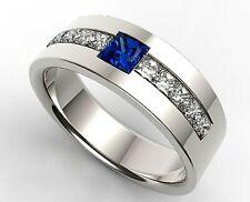 Solid 925 Sterling Silver Natural Gemstone Amethyst & White Topaz Fine Men Ring