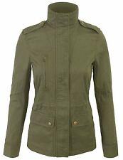 Women's Zip Up Military Anorak Safari Jacket with Pockets Coats S,M,L