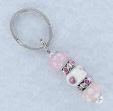 Pink Rhinestone Beaded Key Ring Car Keys House Key Chain Keyring Keychain Bling
