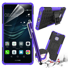 Heavy Duty Tough Shockproof Hard Builder Stand Case Cover for Huawei P9 Stylus Purple