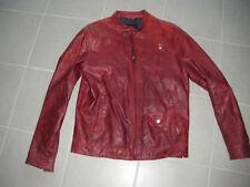 Blouson ZARA cuir rouge bordeaux taille L