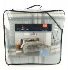 $200 Cuddl Duds Heavyweight Flannel Comforter 4 Piece Set Gray Plaid Full/Queen