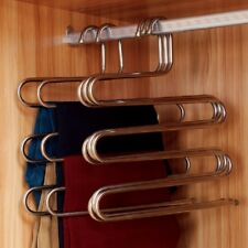 5 Space Saver Clothes Rank Hanger Pant Trouser Scarf Tie Organizer Multifunction