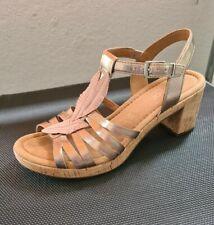 ⚘Gabor Sandalette Sandale Comfort 6,5/40 Kork Pumps Riemchen Leder Rosa Beige