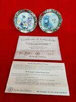 """Lena Liu Hummingbird Collectors 3"""" Plates Set Bradford Edition 1994"""