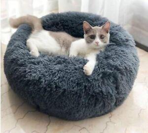 Pet Dog Cat Bed Comfortable Cushion Ultra Soft Washable Donut Winter Warm Sofa