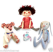 4 X Soft Toy Sewing PATTERNS Teddy Bear/Rag Doll/Mouse/Bunny Rabbit EASY Instruc