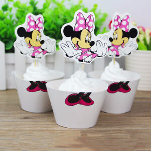48 PCS Minnie Mouse Birthday Party Cupcake 24 Wrappers + 24 Toppers Decoration